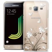 Caseink - Coque Housse Etui Samsung Galaxy J3 2016 (J320) [Crystal Hd Collection Summer Design Papillons - Rigide - Ultra Fin - Imprimé En France]