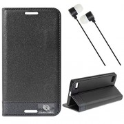 Dmg Praiders Wallet Stand Case For Blackberry Z3 (Black) + Black Stereo Earphone With Mic And Volume Control
