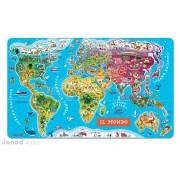 JANOD 05513 Harta magnetică a lumii MAGNETIC WORLD MAP ITALIAN VERSION 92 state magnetice de la 5-12 ani