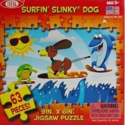 IDEAL JIGSAW PUZZLE 63 PIECES! SURFIN' SLINKY DOG SURFING SURF