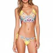 Triangel bikini Scrunch Yellow Flower Print