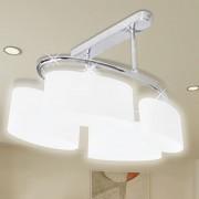vidaXL Лампа за таван с 4 елипсовидни стъклени абажура, крушки тип Е14