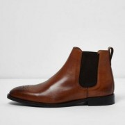 River Island Tan brown leather chelsea boots