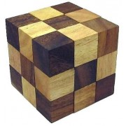 Snake Cube (Medium) Brain Teaser Wooden Puzzle by Winshare Puzzles and Games