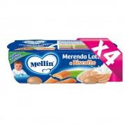Mellin Merende Latte - Kit risparmio 4x Merenda Latte Biscotto - KIT_4X_Confezione da 260 g ℮ (2 vasetti x 130 g)