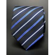 Fekete nyakkendő, kék - fehér csíkkal