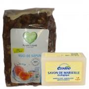 Set nuci de sapun 1Kg si sapun de Marsilia ecologic pentru rufe