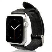 Jisoncase ECHTLEDER Apple Watch 42 mm Armband mit hochwertigem Edelstahl Adapter Krokodil Muster Uhrenarmband Schwarz Leder Armbänder