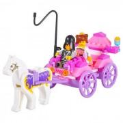 Montaje de estilos princesa Carriage Toy Building Blocks - Blanco + Rosa