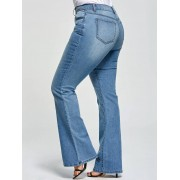 rosegal Plus Size Five Pockets Denim Flare Jeans