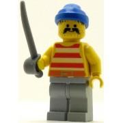 LEGO Pirates Minifig Red White Stripes Shirt Light Gray Legs Blue Bandana