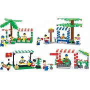 Little Builder City Marketplace Blocks 4 Individual Building Brick Playsets with 557-Pc Toy Bricks Included - 4 Separate Lego Compatible Brick Sets