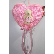 Pink Satan Roses Plush Heart with Baby Doll Teddy Bear