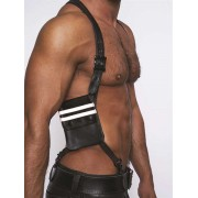 Mister B Leather Wallet Harness Black/White 601305