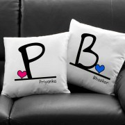 Beautiful Initial Heart Cushion with Personalized Name