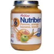 Nutriben Potitos dés 6 mois - Pomme, Orange, Banane, Biscuits - Pot de 200gr