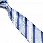 """Blue/Grey/White Pattern Striped Microfibre Tie"""