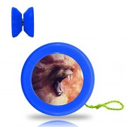 New Style Animal Lion YoYo Ball Professional Responsive Yo-Yo Bearing Spinning Ball String Spin Toys-Blue