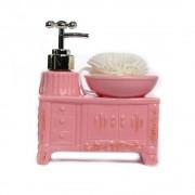 Dispenser bucatarie, din ceramica, chiuveta roz