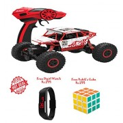 Lets Play Rock Crawler 1:18 Scale 4WD 2.4 Ghz 4x4 Rally Racing Car Remote Control Mini Rocking Car Red+Free Digital Watch Rs.299+Free Rubik's 3*3 Cube Rs.299
