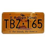 Dioramax - 55/34 - Plaque Voiture - US Virgin Island - Our Islands Our Home - Jaune/Noir - Échelle - 1/1