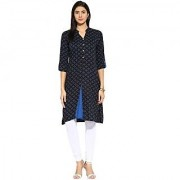 Mytri Black Blue Printed Rayon 3/4th Sleeves Mandarin Collar Kurta