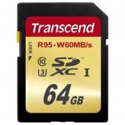 Card Transcend SDXC 64GB Class 10 UHS-I U3 W60