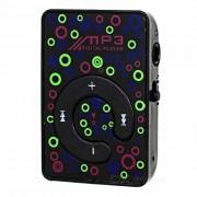 Mini Al pulsar Reproductor MP3 Boton w / TF - Negro