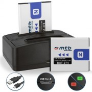 2 Batteries + Double Chargeur (USB) NP-BN1 pour Sony Cyber-shot DSC-W310, W320, W330, W350, W360, W380, W390, W510, W515PS, W520, W530, W550, W560, W570, W580, W610,W620, W630
