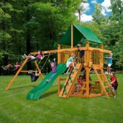 Gorilla Playsets Chateau II with Amber Posts and Canopy Cedar Swing Set 01-0003-AP Roof: Marine Vinyl Canopy - Green