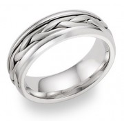 14K White Gold Wide Braided Wedding Band