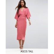 ASOS Tall Платье миди в стиле кимоно с глубоким вырезом ASOS TALL - Розовый