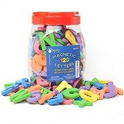 Roscoe Learning 120 Magnetic Letters Premium Foam Magnets In Durable Storage Container With Fold Away Handle