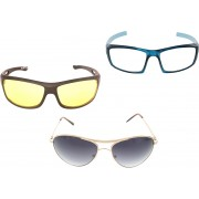 Vast New Day & Night Vision Driving Plus Summer Special (Yellow,White,Grey) COMBO 5 Cycling Goggles(Multicolor)