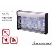 Aparat anti-insecte pe baza de lampi UV si retea de inalta tensiune electrocutoare GC 60( 200 mp)