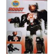 Kids, Walk, Light Up Robot. Adjustable Arms, Push Button Sounds, With Machine Gun Fire