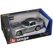 Bburago - Dodge Viper GTS Coupe, color plateado y banda azul (18-12041)