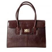 Damen Leder Aktentasche in Dunkelbraun - Dokumententasche, Aktenkoffer, Businesstasche, Laptoptasche