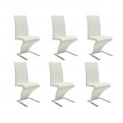 vidaXL Biele jedálenské stoličky sada 6 ks (3 x 240042)