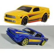 Hot Wheels 50th Anniversary Ford '07 Mustang Exclusive Yellow & '65 Fastback 2+2 #242 HW Workshop - in PROTECTIVE...