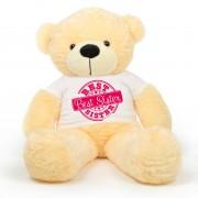 5 feet big peach teddy bear wearing special Best Sister T-shirt