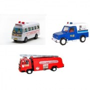Centy Pack Of 3 Fire Tender Mini Ambulance Gypsy