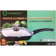 Tigaie Grill Ceramic cu Capac Sticla Grunberg GR1622