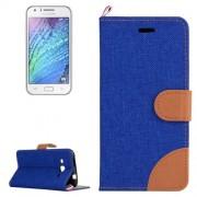 Denim Texture Horizontal Flip Leather Case with Holder & Card Slots for Samsung Galaxy J2 / J200(Dark Blue)