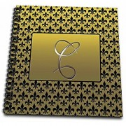 3dRose db_36081_1 Elegant Letter C Embossed in Gold Frame Over a Black Fleur-De-Lis Pattern on a Gold Background-Drawing Book 8 by 8-Inch