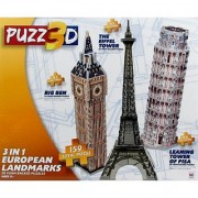 Puzz3D 3 in 1 European Landmarks- Big Ben The Eiffel Tower and The Leaning Tower of Pisa