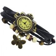 Da My shop Analog Yellow dial Butterfly Bracelet leather strap womens Watch -DM