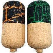 BUY ONE GET ONE FREE - KENDAMA PILL TOY CO. - The Best Kendama Pill For All Kinds Of Fun - Awesome Colors: Wood Black/Orange (top) and Black/Green (top) Kendama Pill Set - Solid Wood - A Tool To Create Better Hand And Eye Coordination