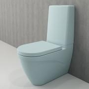 Toiletpot Set Staand Carino 68x36x92cm Keramiek Diepspoel Nano Coating EasyClean Rimfree Glans Baby Blauw met Toiletbril
