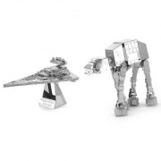 Naimo 3D Metal Model Diy Puzzle Diy Toy AT-AT Robot and Imperial Star Destroyer Set With Luminous Stand